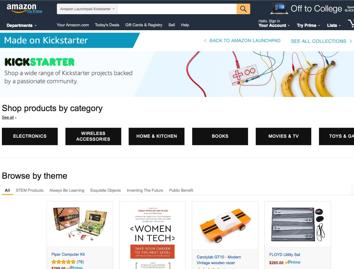 Amazon launches dedicated section for Kickstarter products in U.S. as part of Launchpad