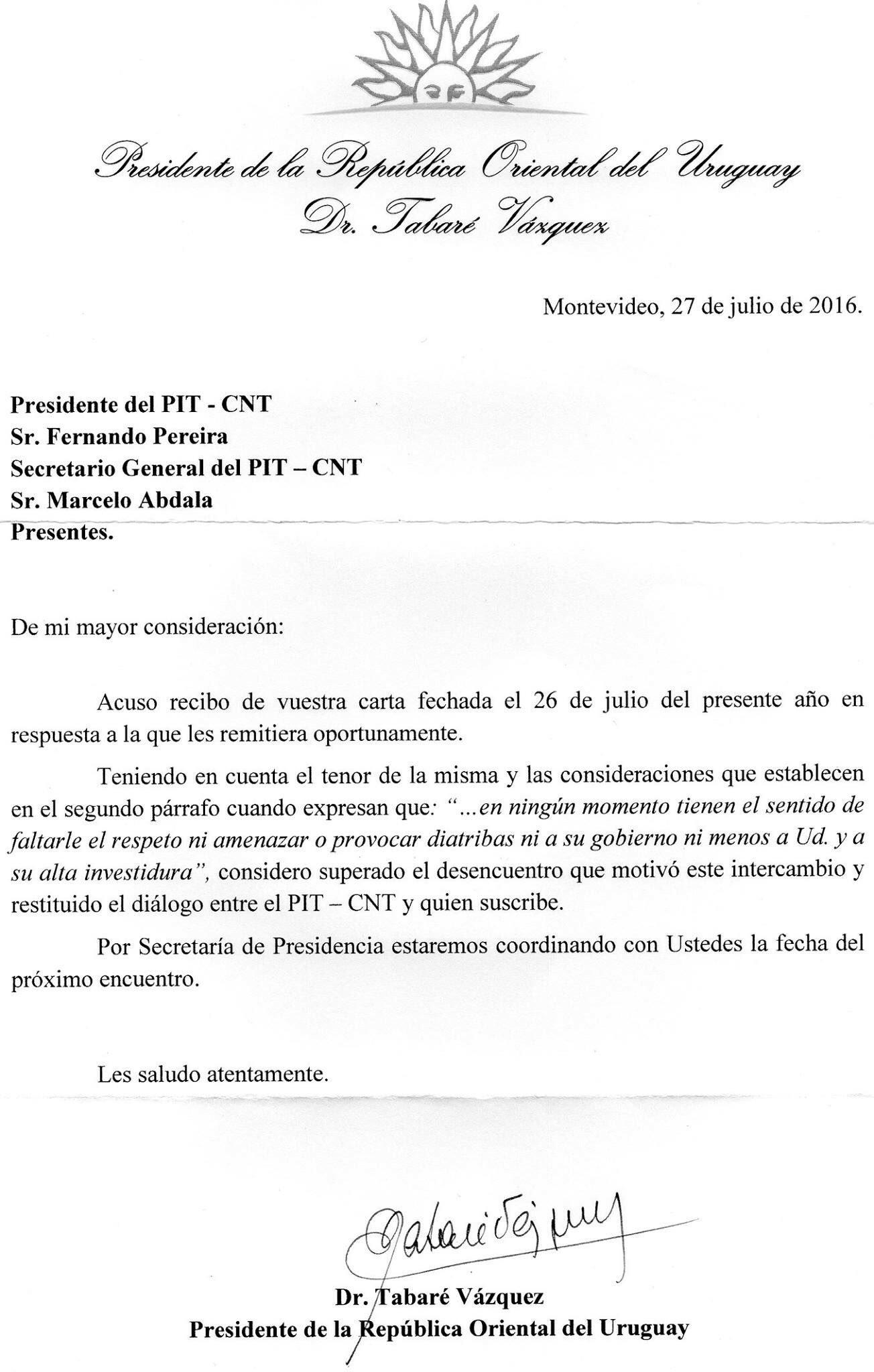 Tabaré Vásquez reanuda diálogo con trabajadores