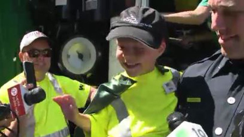 6-year-old boy suffering from cystic fibrosis has his wish of being a garbage man granted