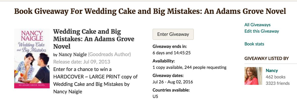 Enter to win a hardcover copy of Wedding Cake and Big Mistakes! https://t.co/qLZDL0IE1d #Montlake #Goodreads https://t.co/FS5nYftt9o