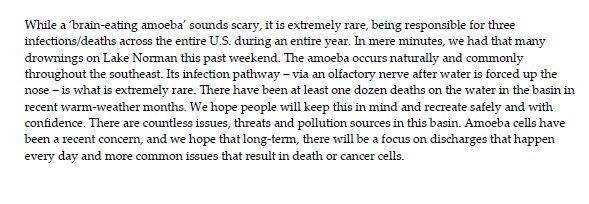 Portion of statement from Catawba Riverkeeper on release of water from National Whitewater Center.