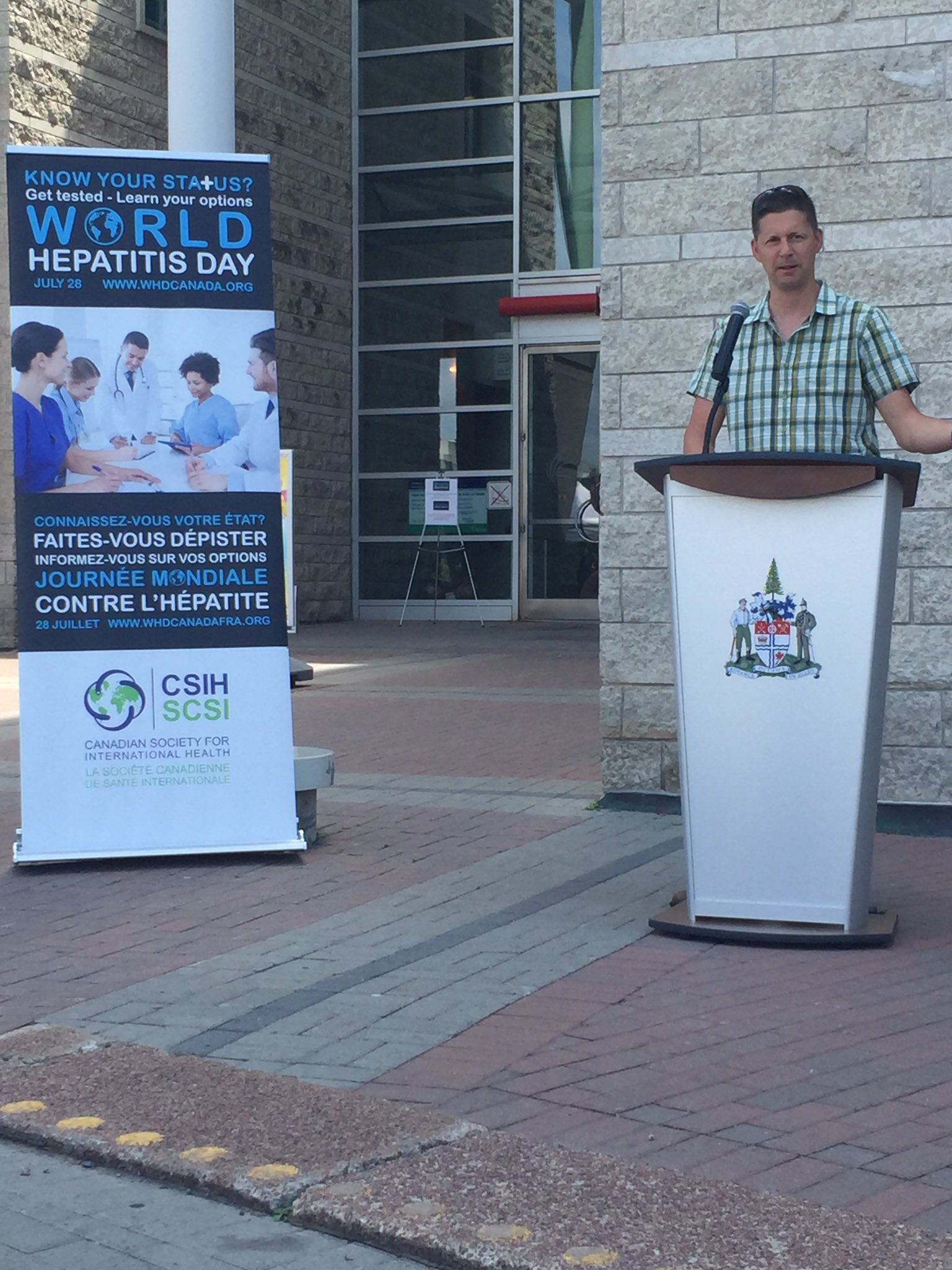 CAHR's President Elect, Dr. Curtis Cooper, speaking at @CSIH_ #WorldHepatitisDay event at #OttawaCityHall  #NoHep https://t.co/s7R3op3yOO