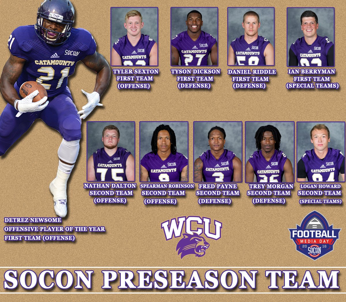 WCU 2016 SoCon Preseason All Conference Team