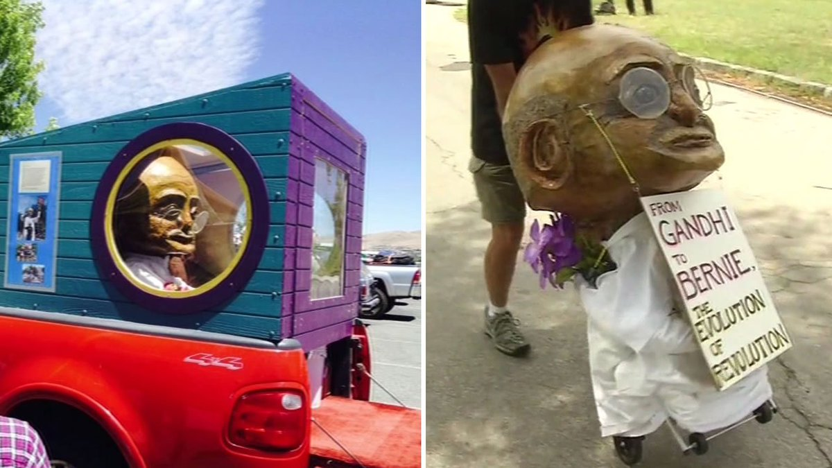 A San Rafael man is on a mission to spread peace to the DNC using an unusual messenger.