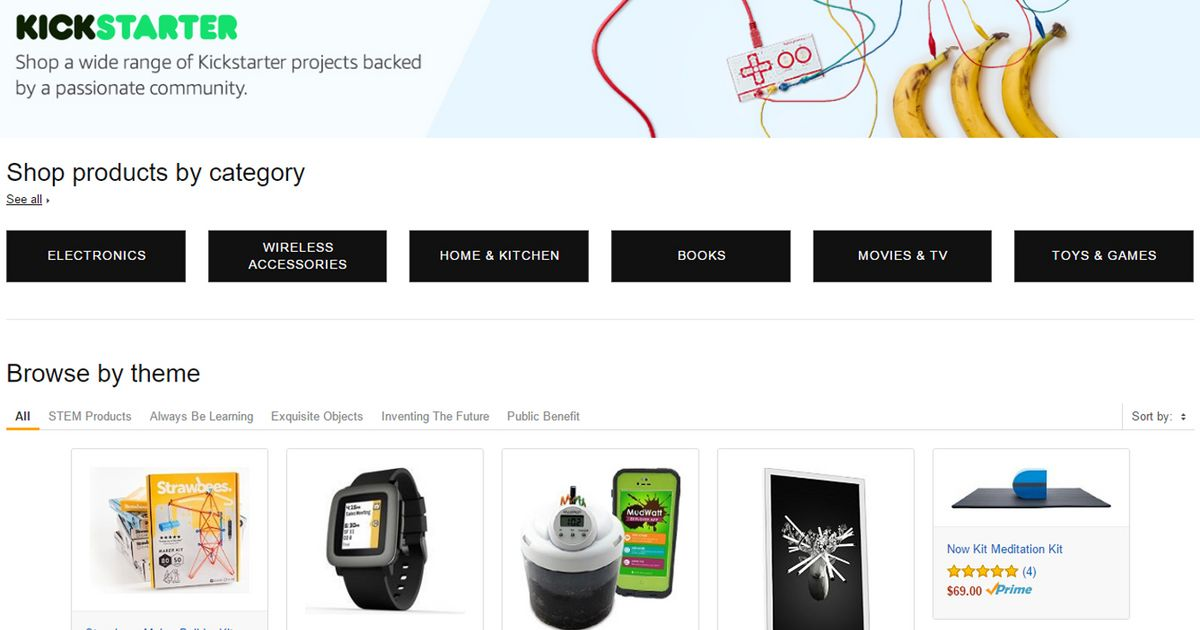 Amazon announces category just for Kickstarter projects