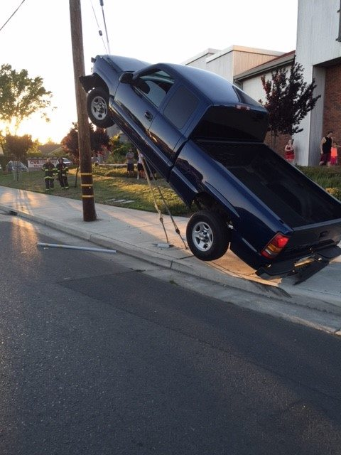 Oops! @NapaPD says a DUI driver ended up on power pole wires Tues. & caused a brief outage