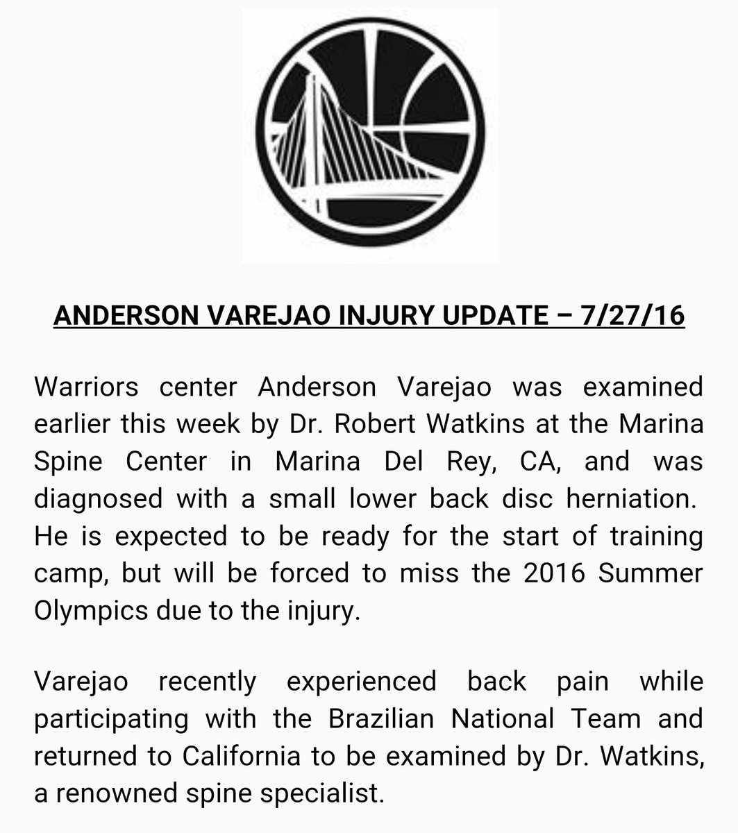 Warriors center Anderson Varejao to miss 2016 Summer Olympics due to back injury. Full update below
