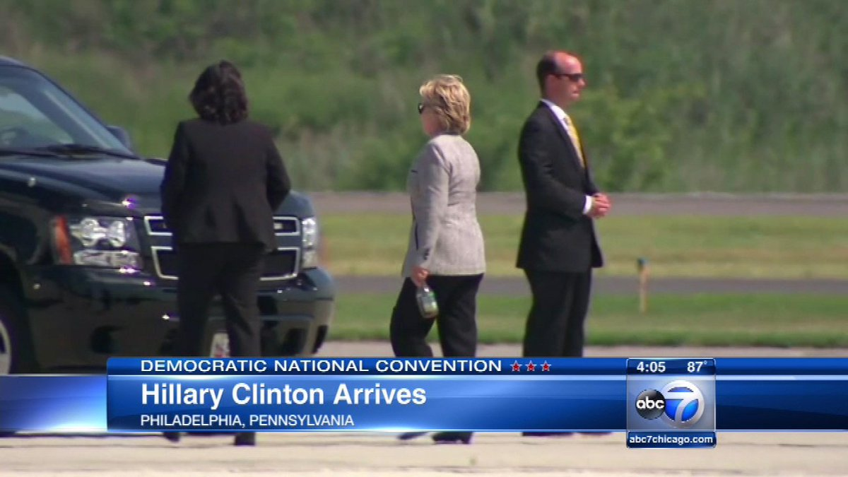 Hillary lands in Philly for Day 3 of the DNC, feat. Obama, Biden and Kaine as headliners