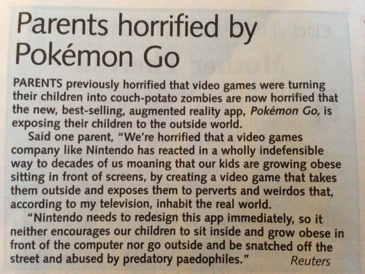 Parents horrified by Pokemon Go. Private Eye hits the nail on the head again https://t.co/tBZXw1mDaK