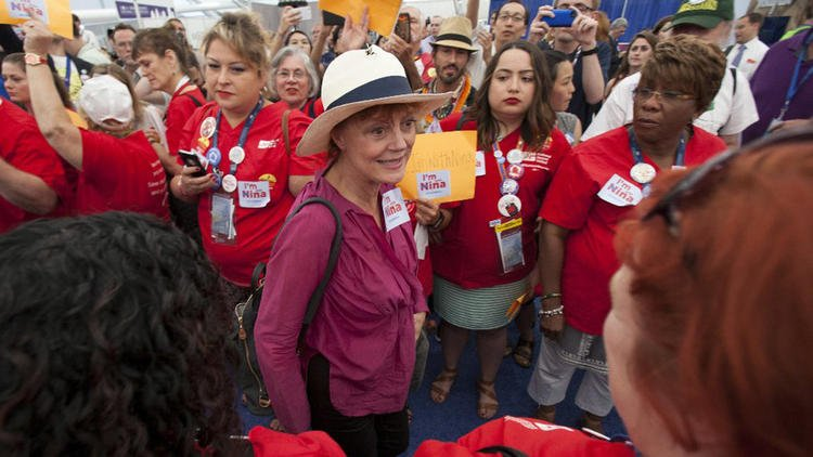 Susan Sarandon, other celebrities, join delegates in protest at convention