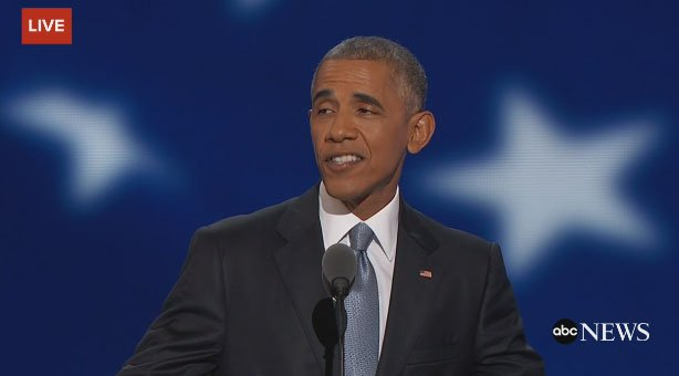 "Obama:""I promise you, our strength, our greatness does not depend on Donald Trump"" DNCinPHL"