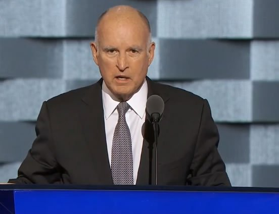 Gov. Jerry Brown addressing DemocraticConvention .