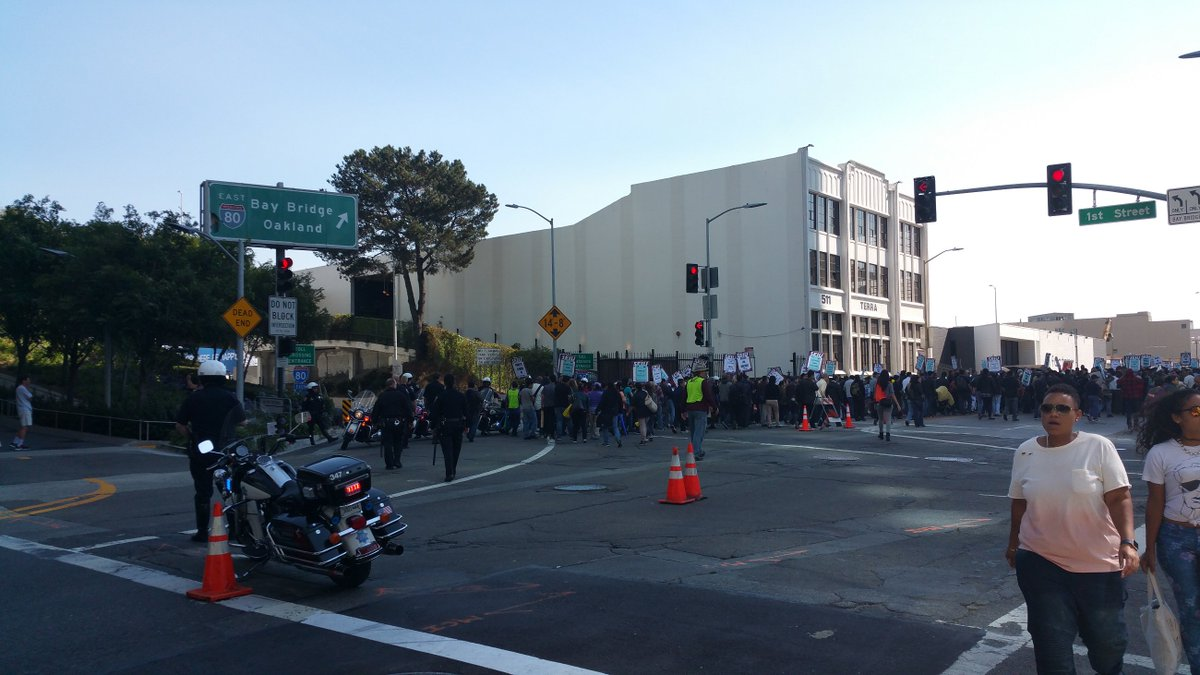Protesters block entrance to Bay Bridge in San Francisco.