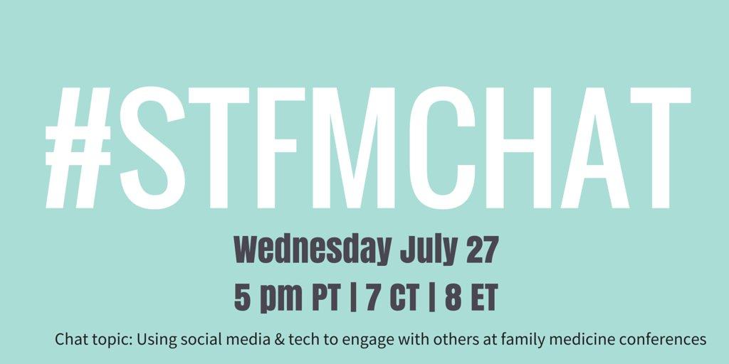 15 minutes until #STFMChat on Social Media at #FMRevolution conferences like #AAFPNC @AAFP_FMIG @aafp https://t.co/3EkvBY2cuF