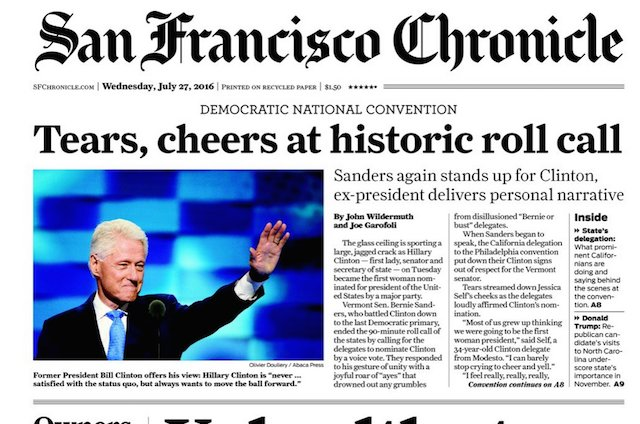 Chronicle called out for putting Bill, not Hillary, on today's front page.