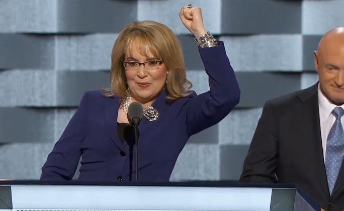 Former U.S. Representative Gabby Gifford is speaking now at DNC