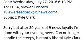9NEWS viewer says I'm a creep, I'm a weirdo. What the hell am I doing here? I don't belong here, etc. copolitics