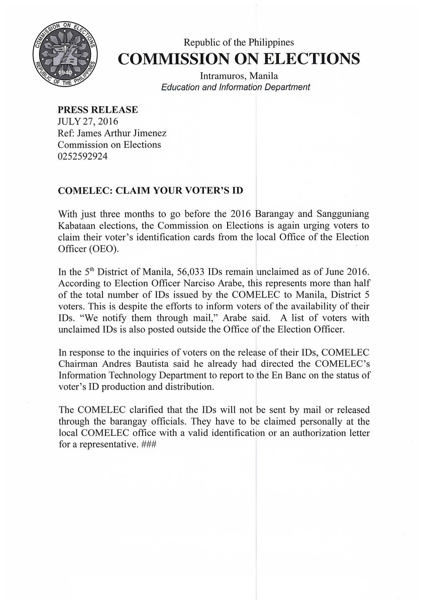 Comelec On Twitter If Voter S Id Was Lost Execute An Affidavit Of