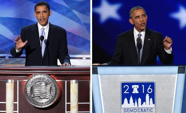 This is Barack Obama speaking at the 2004 Democratic convention and tonight