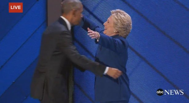 Hillary Clinton makes surprise appearance at end of Obama speech; crowd goes wild DNCinPHL
