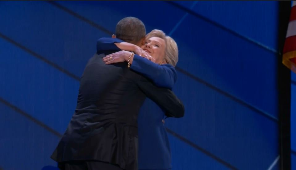 Hillary Clinton joins @POTUS on stage, embraces him at end of his speech DemsinPhilly
