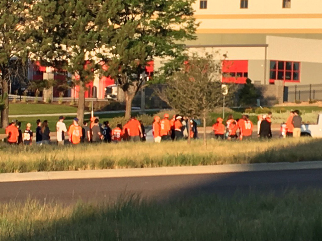 Early arrivals! Broncos fans already lined up for day one of training camp. 9sports.