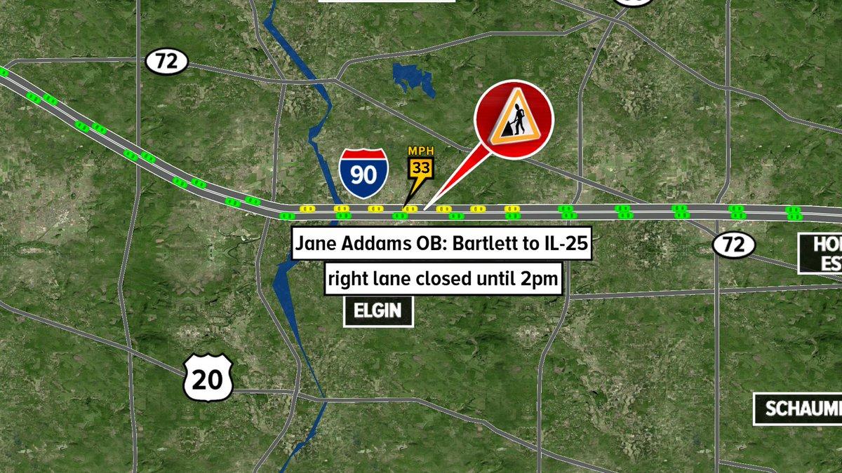 Jane Addams OB: Bartlett to IL-25, right lane closed until 2pm