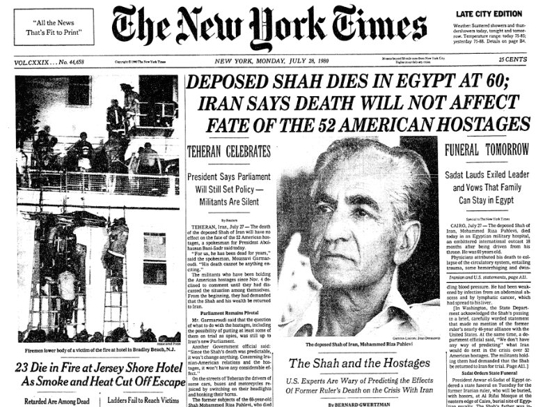 Image result for the death of the deposed shah of iran