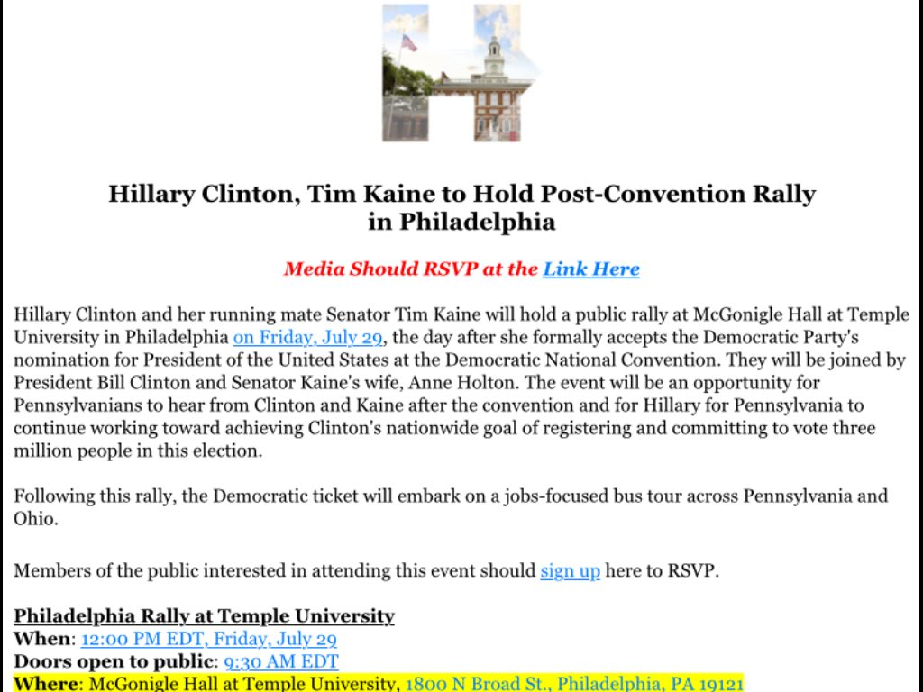 JUST IN: Clinton-Kaine rally is moving from Independence Mall to Temple University. Storms tomorrow. DemsInPhilly