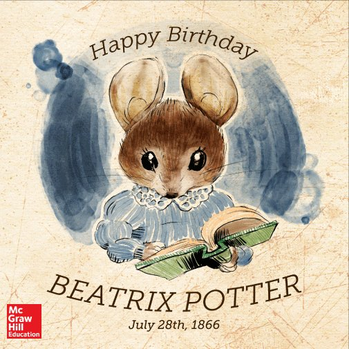 Happy Birthday to Beatrix Potter! The beloved children's author was born in Kendington, England on July 28th, 1866. https://t.co/Cd5kFlHDsk