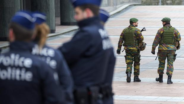 Police and army officers in Brussels