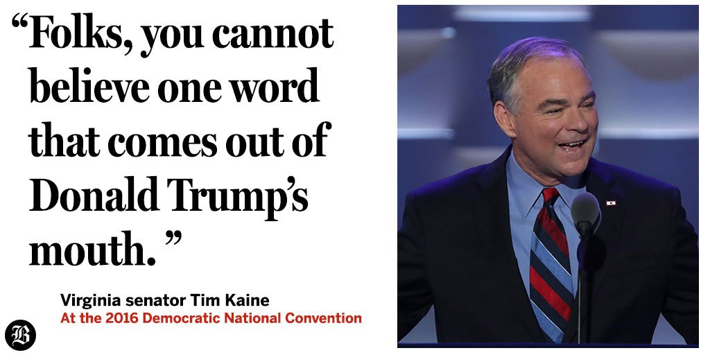 ''Let's talk about trust,'' Tim Kaine said in his Wednesday night speech at the DNCinPHL