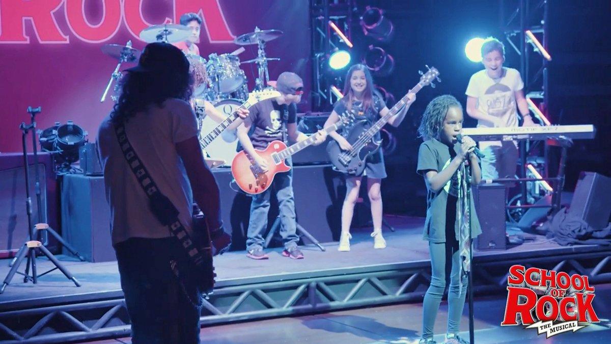 Rock legend Slash joins kid band on Broadway