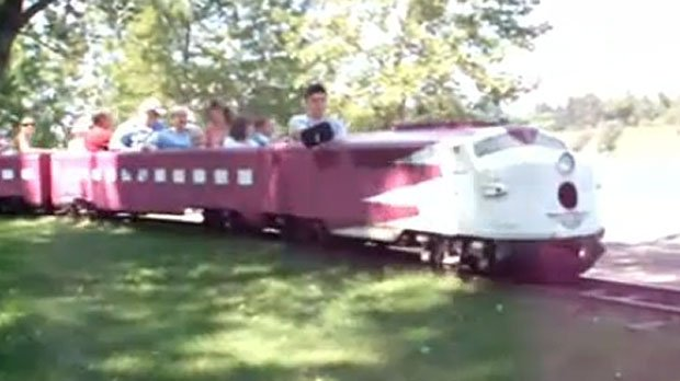 Mini train back on the rails in Bowness yyc