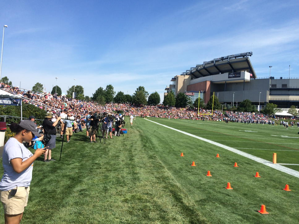 The first day of Patriots training camp and it's absolutely packed with fans. WBZ