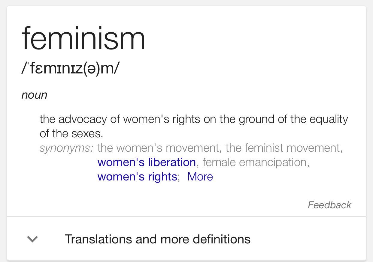 I don't understand why this is such a dirty word to some people...here's the definition, for clarity #IAmAFeminist https://t.co/C8SxUGk31j