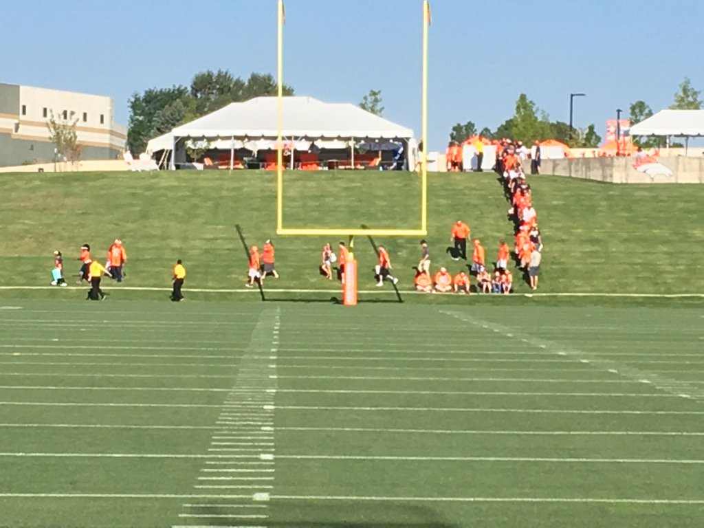 The very first Broncos fans of the 2016 season taking their seats at day one of camp. 9sports.