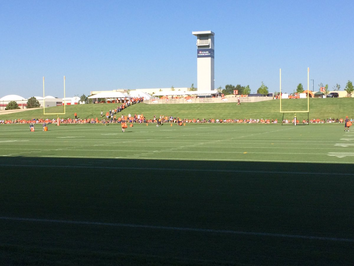 Broncos fans filing in for the first day training camp. 9news