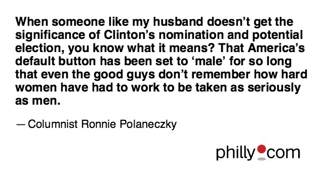 @RonniePhilly's column today about Hillary Clinton's nomination and what it means
