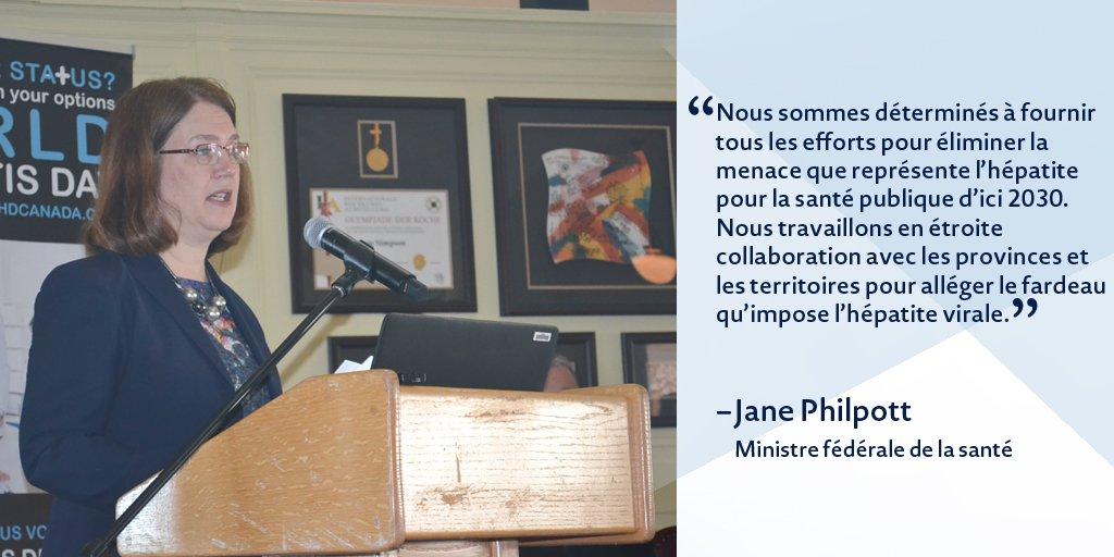 .@janephilpott min. de la #Santé : le Canada s'engage à éliminer l'#hépatite virale. #journéemondialehépatite @CSIH_ https://t.co/HeeoAjSg8m