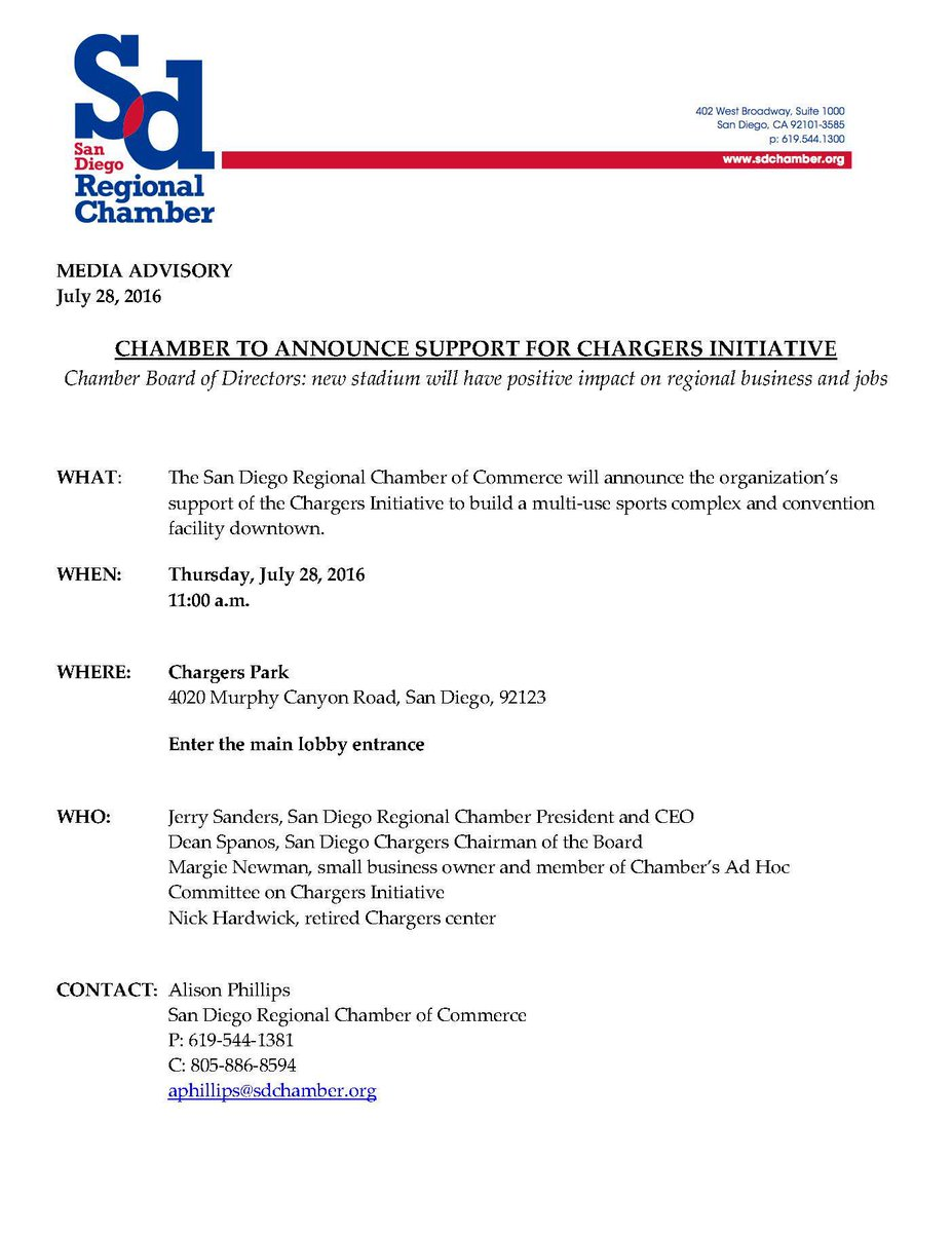 Chamber Board just voted to support @Chargers Initiative. Press conf at 11 at #Chargers Park https://t.co/f4NjcNACHs