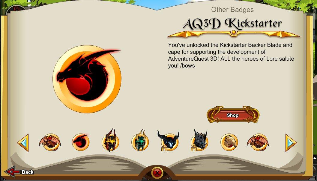 AQ3D Kickstarter Backers - AdventureQuest Worlds