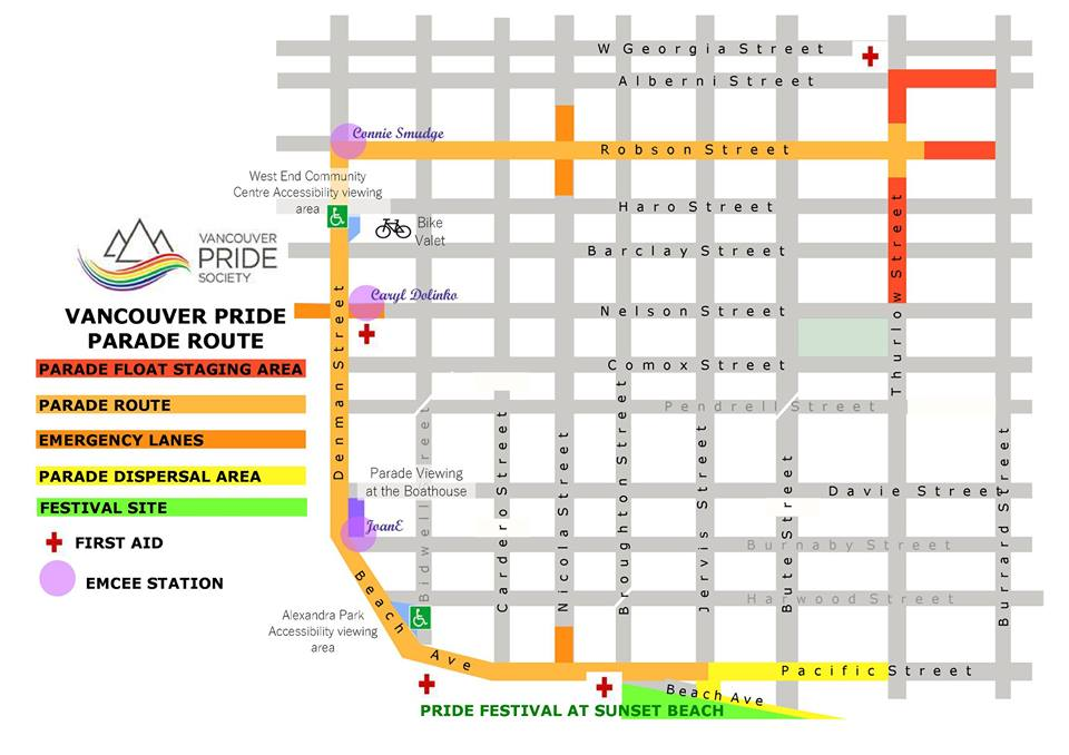 It's going to be a gorgeous day for the Vancouver Pride Parade! Have you seen the route map yet? @vancouverpride https://t.co/XQLcORtFgh