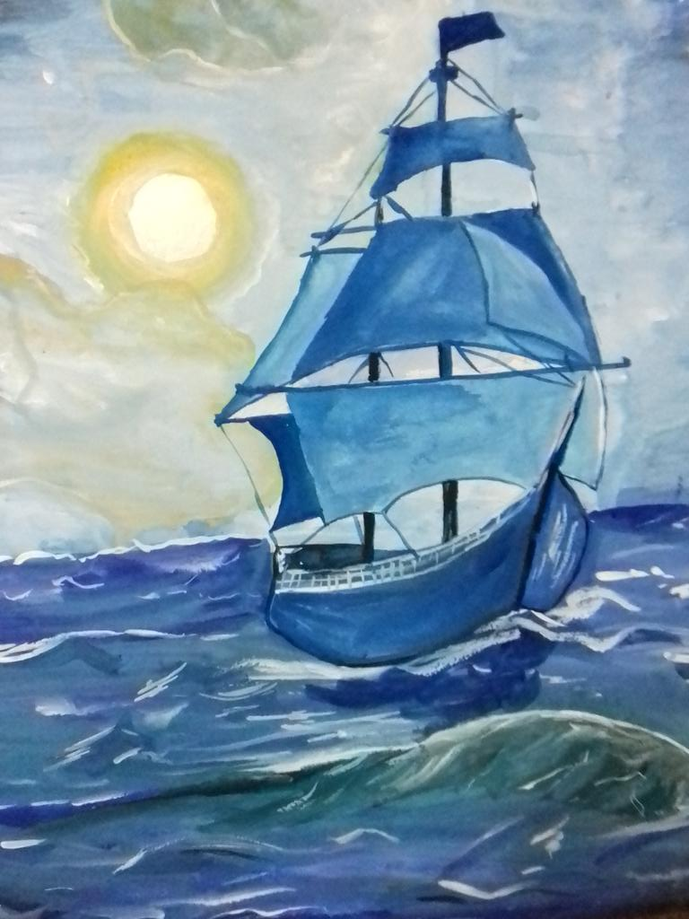 Рисунок корабль в море для детей