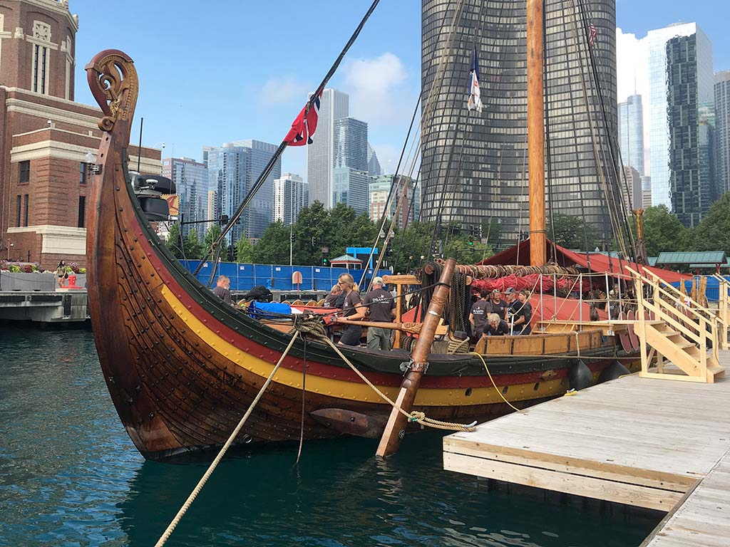 A Viking ship has landed in Chicago; the crew is seeking out the blues