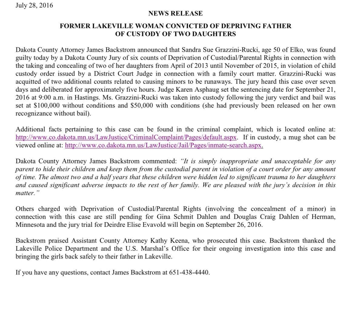Via press release: Statement from Dakota County Attorney Backstrom on Grazzini-Rucki's conviction. #grazzinirucki https://t.co/xCmd8HxLAw