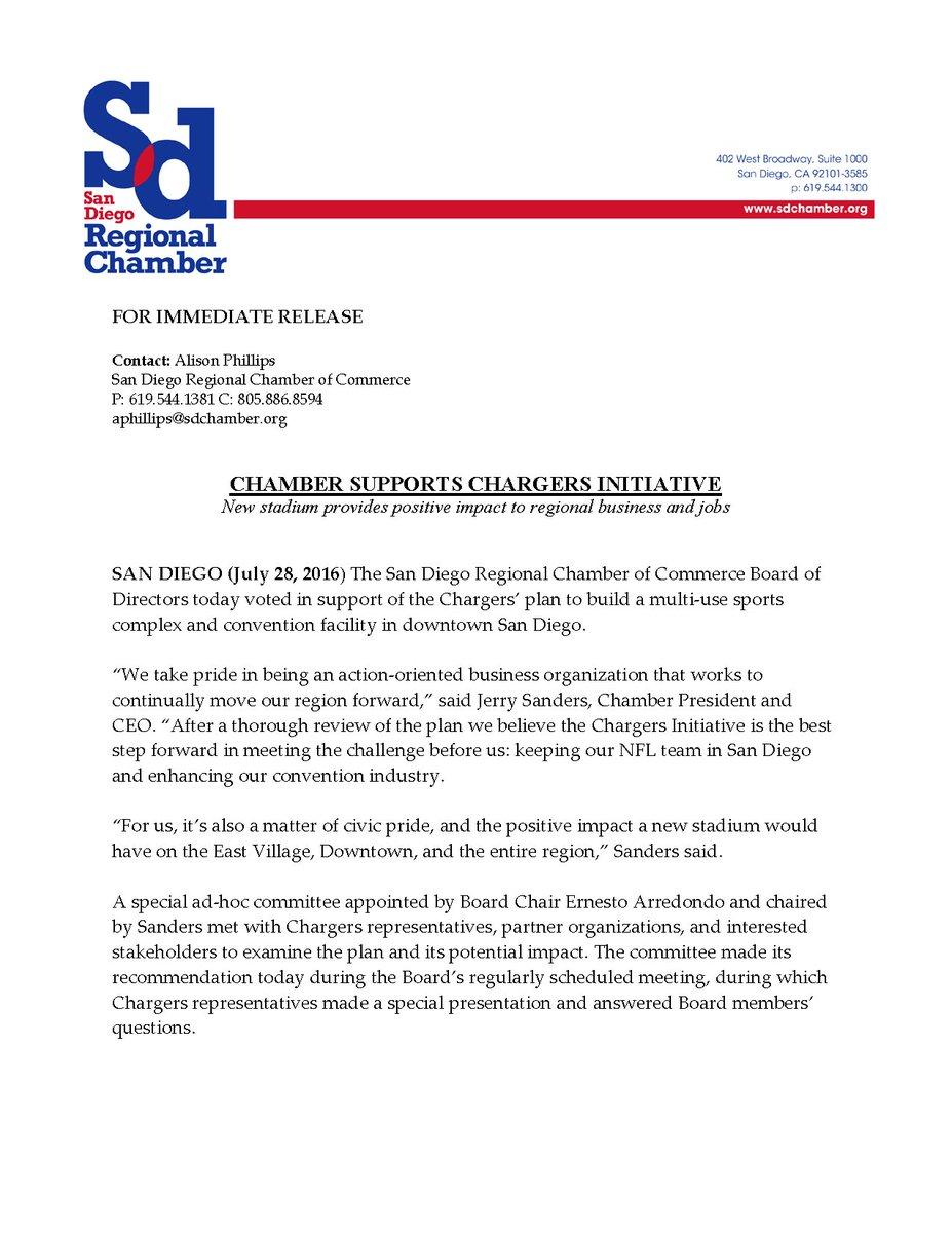 NEWS RELEASE: Chamber Supports #Chargers Initiative - https://t.co/jbTkJB84vA