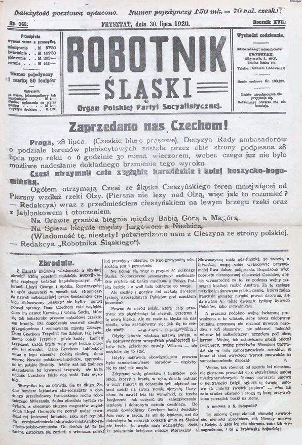 Nadzbój i Marszałek. W 96 rocznicę podziału Śląska Cieszyńskiego