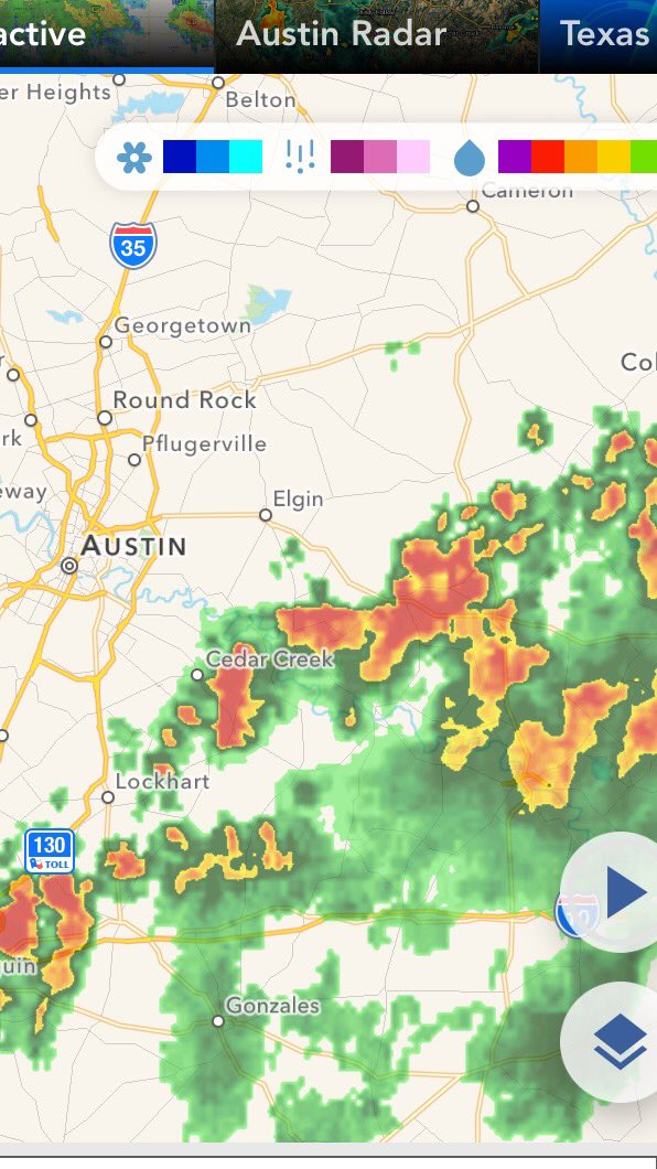 HEADS UP: Heavy rain developing south and east of Austin. Rain slowly moving north. @KVUE