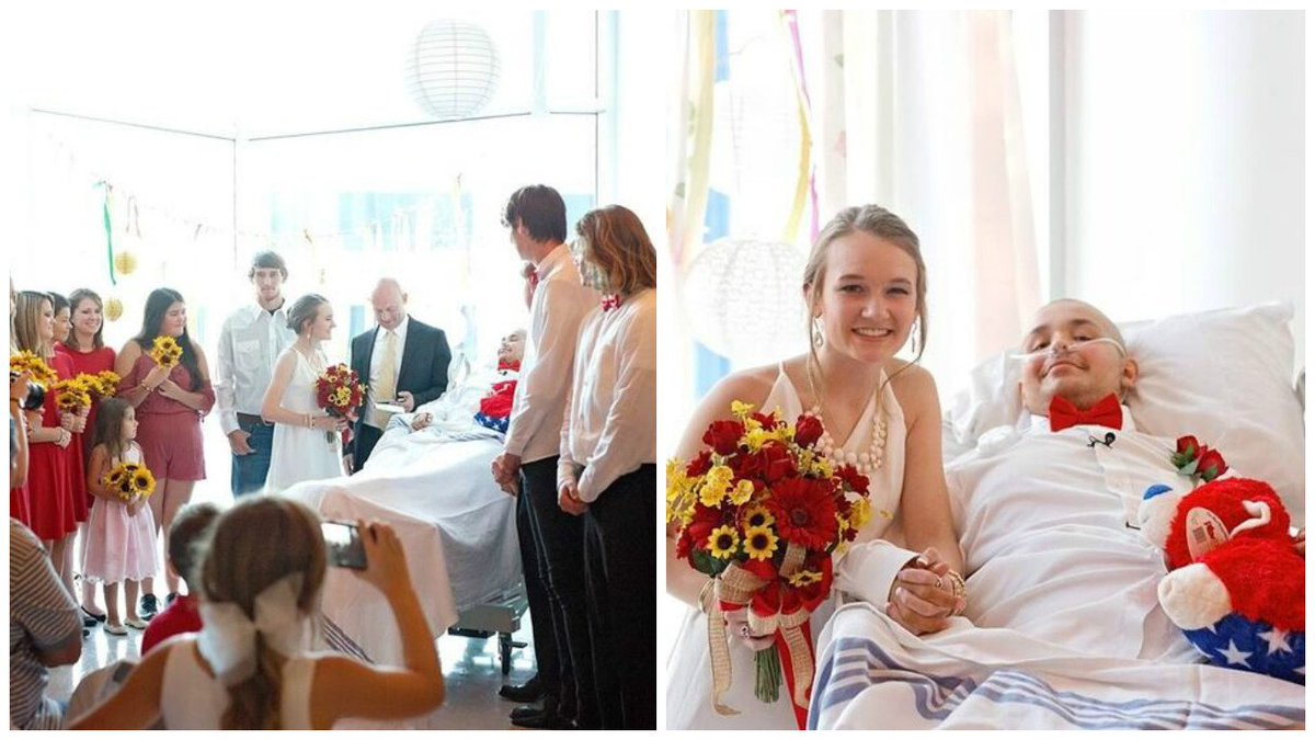 Groom battling cancer says wedding vows from hospital bed weddings soulmates